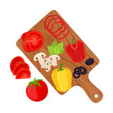 Sliced vegetables on cutting board. Pizza ingredients. Cartoon flat style. Sliced vegetables on cutting board. Tomato, bell pepper, mushrooms, basil, olive Royalty Free Stock Photography