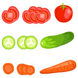 Sliced vegetables. Flat design, illustration royalty free illustration