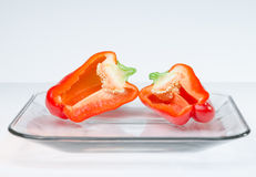 Sliced vegetables on Glass Plate white background Stock Photography