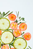 Sliced vegetables and herbs background Royalty Free Stock Photos