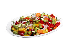 Sliced vegetables. Isolated sliced vegetables for a vegetable pan Royalty Free Stock Photography