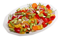 Sliced vegetables. Isolated sliced vegetables for a vegetable pan Royalty Free Stock Image