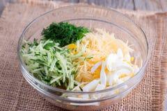 Sliced vegetables for Korean salad in a bowl Royalty Free Stock Images