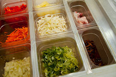 Sliced vegetables and meat  to Japanese cuisine Royalty Free Stock Image