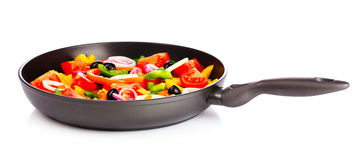 Sliced vegetables in a pan Royalty Free Stock Photography