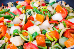 Sliced vegetables in the pan Royalty Free Stock Photos
