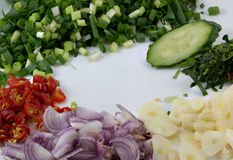 Sliced vegetables. Sliced vegetables ready to cook Stock Image
