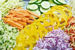 Sliced vegetables for salad Stock Photos
