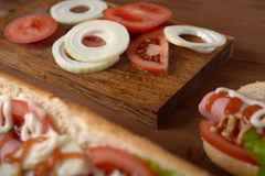 Sliced vegetables on the table Stock Image