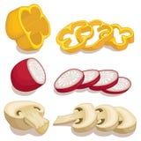 Sliced vegetables vector illustration Stock Photos