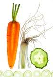 Sliced Vegetables on white Royalty Free Stock Images