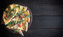 Sliced vegetarian pizza Royalty Free Stock Image