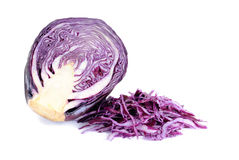 Sliced violet cabbage isolated on the white. Background stock image