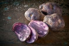 Sliced vitelotte potatos, three slices and three whole potatos o. N rough dark background Royalty Free Stock Photography