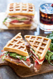 Sliced waffle sandwiches Royalty Free Stock Photo
