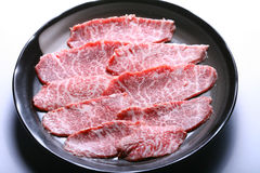 Sliced wagyu beef. High grade sliced wagyu beef on background Stock Photo