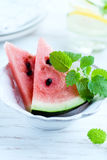 Sliced water melon with lemon mint Stock Photography