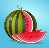 Sliced water melon with two sickled pieces Royalty Free Stock Photography