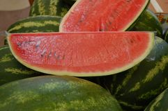 Sliced watermelon stock images