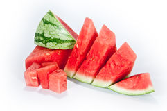 Sliced watermelon. A sliced Watermelon isolated on a white background stock photos