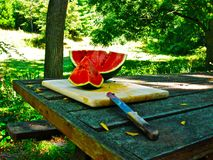 Sliced Watermelon. On a picnic table Stock Photo