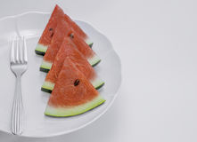 Sliced watermelon on a plate , Royalty Free Stock Photos