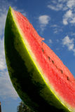 Sliced watermelon with seeds from bottom  Royalty Free Stock Photography