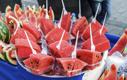 Sliced watermelon for sell on cart at Galata District. Royalty Free Stock Photo