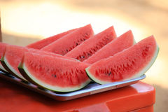 Sliced watermelon on a stainless steel tray. Royalty Free Stock Photo
