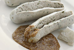 Sliced Weisswurst Stock Photography
