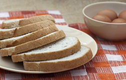 Sliced of wheat bread with eggs Stock Photography