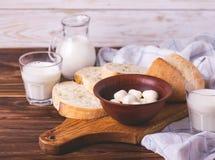 Sliced wheat bread, glass of fresh milk and mozzarella Stock Photos