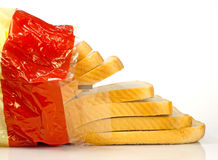 Sliced white bread. Falling out of packet Royalty Free Stock Images