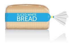 Sliced white bread loaf vector visual in clear bag. Sliced white bread loaf vector visual, in clear plastic film bag. Fully adjustable and scalable stock illustration