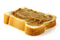 Sliced white bread with peanut butter Stock Images
