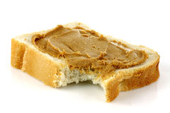 Sliced white bread with peanut butter Royalty Free Stock Image