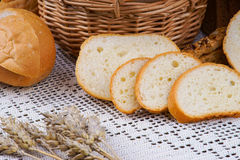 Sliced white bread on a tablecloth Royalty Free Stock Photos