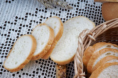 Sliced white bread on a tablecloth Stock Photos