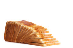 Sliced white bread on white high key background Stock Photo