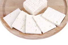Sliced white cheese on plate Stock Image