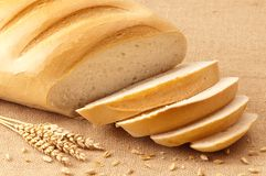 Sliced White Crusty Bread Royalty Free Stock Photos