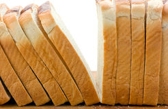 Sliced white loaf bread stacked upright. Stock Photo