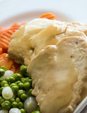 Sliced white meat chicken dinner and vegetables Stock Images