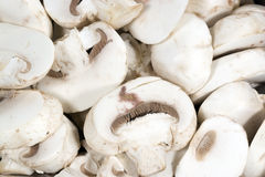 Sliced White Mushrooms. Close up of fresh sliced white mushrooms, Agaricus bisporus—known variously as the common mushroom, button mushroom, or white stock images
