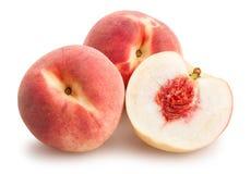 Sliced white peach. On white background Stock Images