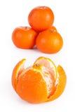 Sliced and whole orange, isolated Stock Photos