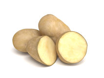 Sliced and Whole Potatoes on White Background Stock Image
