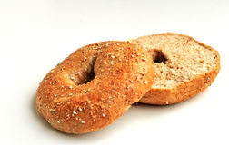 Sliced Whole What Bagel. Closeup of a sliced bagel stock photography