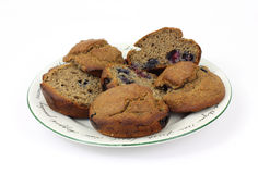 Sliced Whole Wheat Bran Muffins Royalty Free Stock Photos
