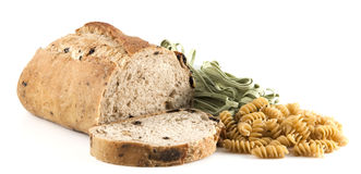 Sliced Whole Wheat Olive Bread And Pasta Stock Photo
